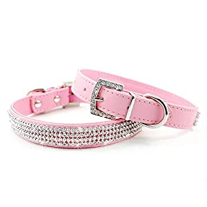 Didog Full Crystal Rhinestones Shining Diamonds PU Leather Dog Pet Collars for X-small Small Dogs