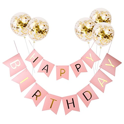 Happy Birthday Banner Gold Pink Blue Paper Garland Confetti Balloons Letter Banner Birthday Party Decorations Kids Party Favors pink]()