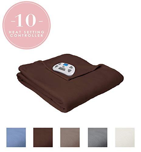 Serta | Brushed Fleece Heated Electric Throw Blanket, (Twin, Chocolate)
