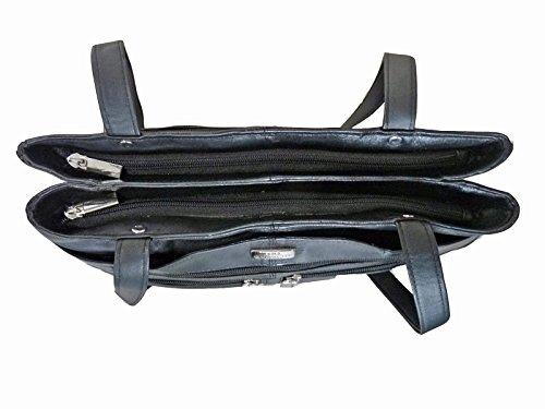 Bolso Paraguas Londres Señoras De Bolsillos Bolsillo 3 Quenchy Suave De Negro Cuero Secciones 9 Las Grandes y Principales De de Hombro En Bolsos Para QL172 De Mujer Cuero Bolso r0OpqrT