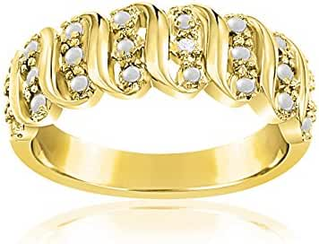 Lumineux Diamond Womens Diamond Accent Wavy Design Ring, Gold & Rhodium Plated Brass