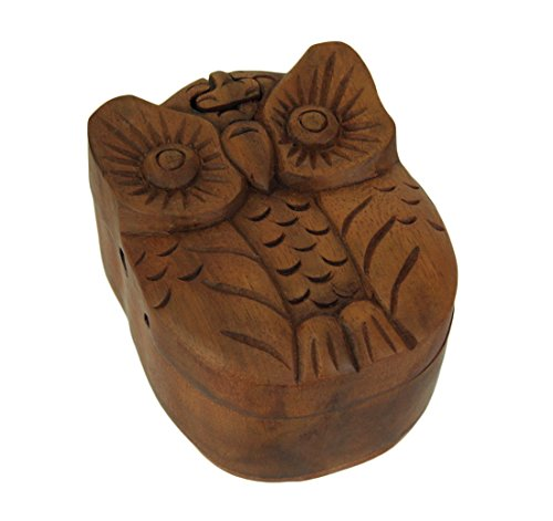 Kingmax Wood Decorative Boxes Hand Carved Wooden Big Eye Owl Trinket Puzzle Box 4 X 2.5 X 3 Inches Brown