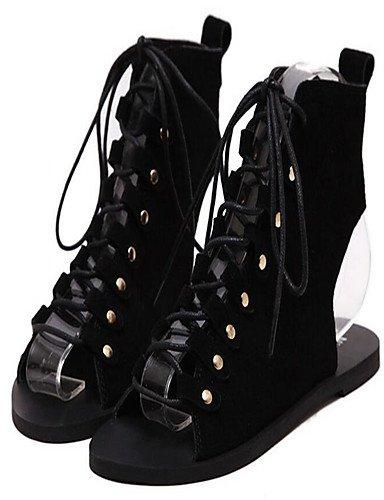 XZZ/ Damen-High Heels-Lässig-PU-Flacher Absatz-Flache Schuhe-Schwarz / Braun brown-us6 / eu36 / uk4 / cn36