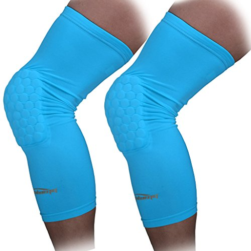 COOLOMG 2 Packs (1 Pair) Kids Adult EVA Pads Crashproof Basketball Leg Knee Long Sleeve Protector Gear Light Blue XXS