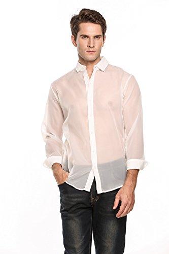 Coofandy Men's Sexy See Through Mesh Clubwear Long Sleeve Shirt Button Through Pocket