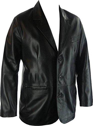 clásico Estilo cuero Blazer UNICORN G4 traje Negro chaqueta Hombres Genuino real nqwtpAaY