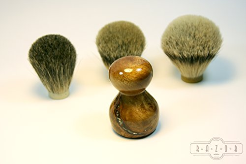 Pacific Northwest Maple Burl Shaving Brush Mother of Pearl Inlay