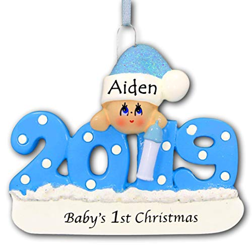 Personalized 2019 Baby's First Christmas Tree Ornament 1st Keepsake in Blue for Baby Boy with Santa Stocking Cap Hat and Bottle - New Mom Baby Shower - Free Name Customization (Blue)