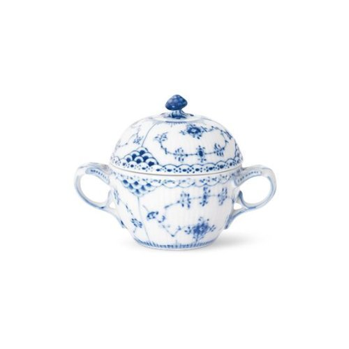 BLUE FLUTED HALF LACE LG. COV'D SUG. W/HDLS. by Royal Copenhagen