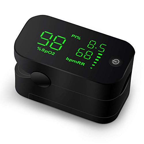 Bluetooth Pulse Oximeter, HD LED DisplayFingertip Pulse Oximetry with Perfusion Index, Pulse Rate Monitor Blood Oxygen Saturation Sensor Include Batteries