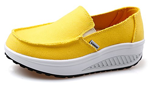 Ausom Women's Swing Wedges Casual Canvas Shoes Platform Slip-On Lose Weight Fitness Walking Sneaker Yellow