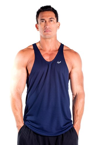 Mens Navy Blue Bull (Mens Poly Stringer Tank Top by Pitbull in Navy,)