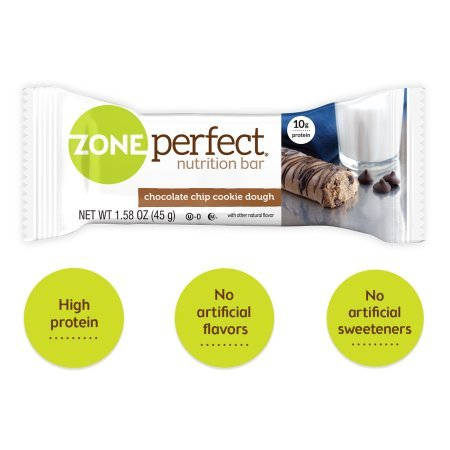 Zone Perfect, Nutrition Bars, Chocolate Chip Cookie Dough (Pack of 18)