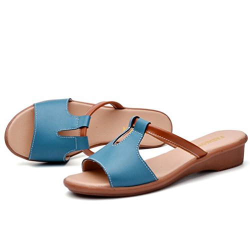 YAANCUN Mujeres Cuero Resbalón Respirable Sandalias Verano Estilo Playa Zapatos Sandalias Punta Abierta Azul