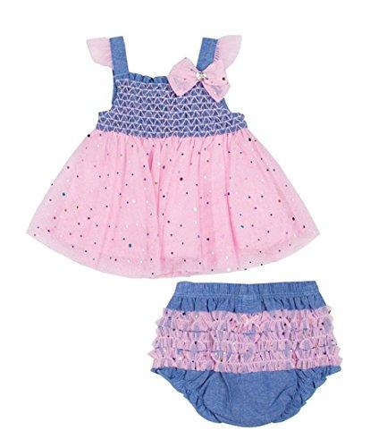Disco Dot Diaper - Little Lass Baby Girls' 2-pc. Pink Tulle Diaper Set, Chambray (6/9 Months)