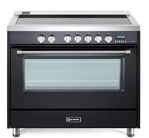 - Verona Designer Series VDFSEE365E 36 Inch 5.0 Cu. Ft Electric Range Oven 5 Burners Dual Center Element Smoothtop Black Ceramic Cooktop Convection Matte Black