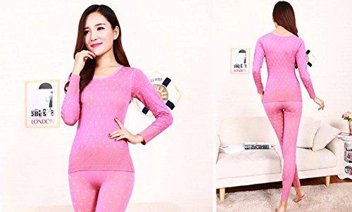 Baymate Mujer Dots Ropa Interior Térmica Conjunto U Cuello Pink Amarillo