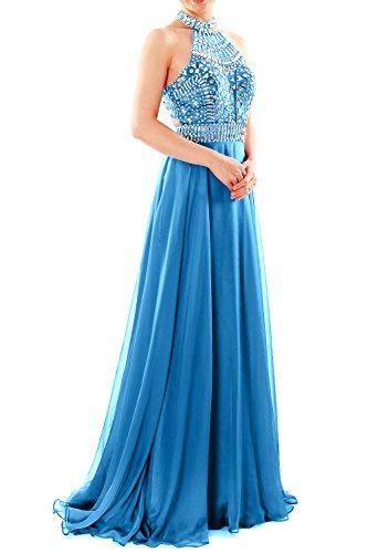 MACloth Women Halter High Neck Sleeveless Long Prom Party Dress Evening Gown Horizon Z2uNSM