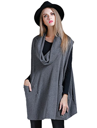 Mordenmiss Women's Oversized Sweater Spring Day Bat Shirt (Style 4 Gray)