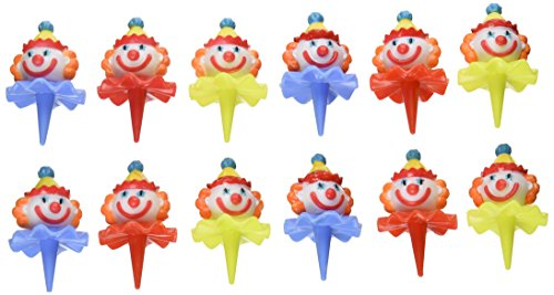 Oasis Supply Birthday 3D Clown Head Decorating Cupcake/Cake Picks, 2-1/2-Inch, Assorted Colors, Set of 12
