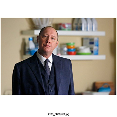 The Blacklist (TV Series 2013 - ) 8 Inch x10 Inch James Spader Wearing Blue Suit Head Tilited Left Shelves in Background kn