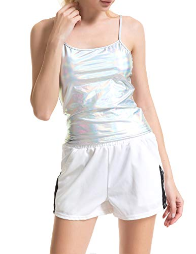 Radish Stars Sexy Shiny Metallic Sleeveless Tank Top Camisole Liquid Wet Look Top Vest for Club Party