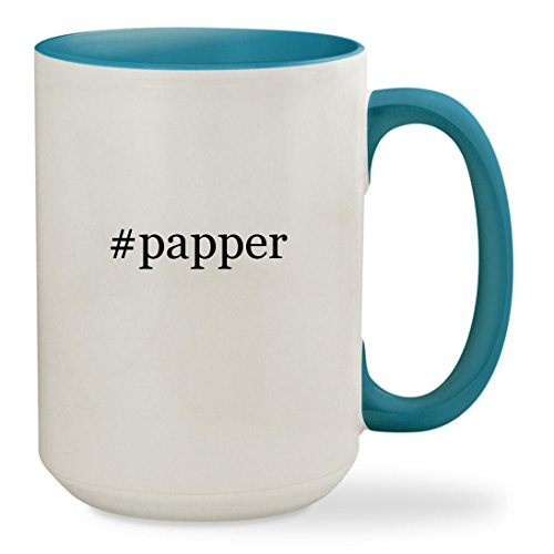 #papper - 15oz Hashtag Colored Inside & Handle Sturdy Ceramic Coffee Cup Mug, Light Blue