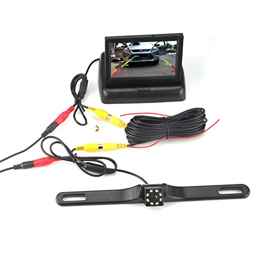 4.3 Foldable Car TFT LCD Monitor with LED Night Vision Car Reverse Backup Camera, Waterproof Parking Assistance System