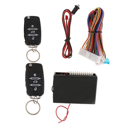 Baosity Portable Remote Central Lock Kit Keyless Entry System with Flip Keys DC 12V