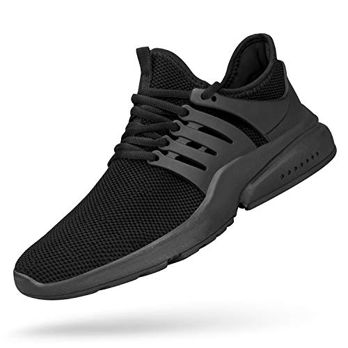 QANSI Mens Non Slip Workout Shoes Breathable Fashion Sneakers Lightweight Athletic Running Gym Tennis Shoes Black 11