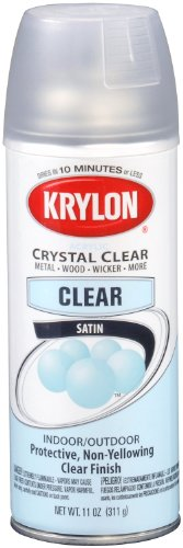 Krylon 51313-6 PK (K05131307-6 PK) Satin Finish Crystal Clear Interior/Exterior Top Coat - 11 oz. Aerosol, (Case of 6)