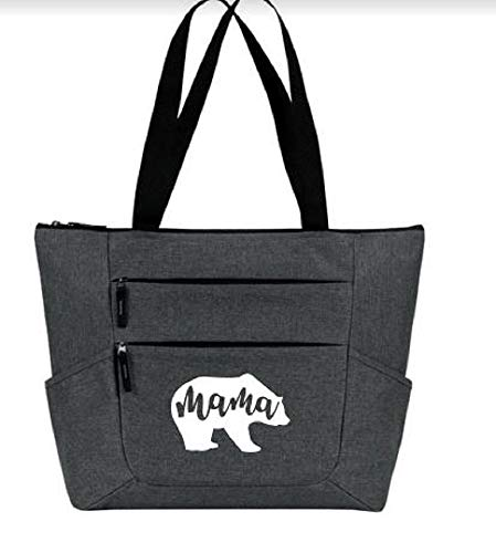 Mama Bear Large Premium Zippered Tote Bag with Front and Side Pockets - Perfect Christmas Gift for Mom, Women, Wife