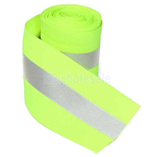 3 Meters Silver Reflective Tape Safty Strip Non Adhesive Sew-on Lime Fabric Green by e2wholesale