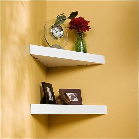 Amazon.com: Welland 2-Piece Chicago Floating Corner Shelf, 14-Inch ...