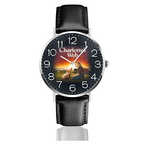 Charlotte's Web Dakota Fanning Men Leather Strap Military Watches Women's Waterproof Sport Wrist Date Quartz Wristwatch Gifts