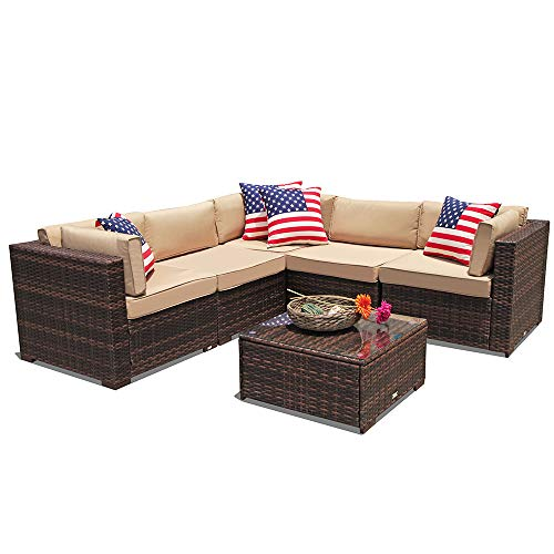 PATIOROMA Outdoor Furniture Sectional Sofa Set (6-Piece Set) All-Weather Brown PE Wicker with Beige Seat Cushions &Glass Coffee Table| Patio, Backyard, Pool| Steel Frame Review