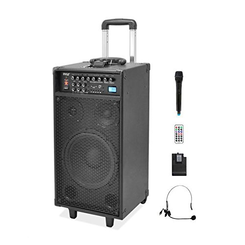 "Pyle Pro 800 Watt Outdoor Portable Wireless PA Loud speaker – 10"" Subwoofer Sound System with Charge Dock, Rechargeable Battery, Radio, USB/SD Reader, Microphone, Remote, Wheels – PWMA1090UI"