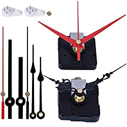 EMOON 2 Pack Wall Clock Movement Mechanism with 4 Pack Clock Hands, Silent Sweep Quartz Clock Motor Kit, for Clock Repair DIY Replacement, Custom Clock (Shaft Length 5/8 in)