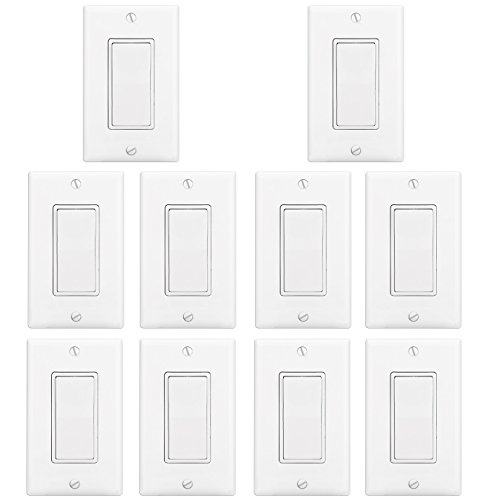 Switch Decora Style ([10 Pack] BESTTEN Wall Light Switch Interrupter (15A, 120/277V), Decor Wall Plate Included, Single Pole Grounding Rocker Switch for Lamp, Residential & Commercial Grade, UL Listed, White)