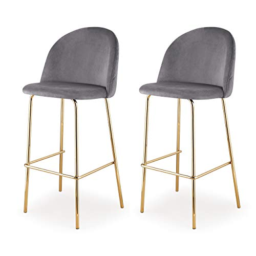 Meelano 61-GD-Gry Dining Chair, Bar Height, Gold/Grey
