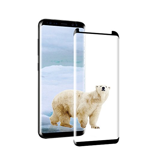 Loopilops Samsung Galaxy S8 Screen Protector 3D Curved Tempered [Anti-Bubble][9H Hardness][HD Clear][Anti-Scratch][Case Friendly] Glass Screen Film for Samsung Galaxy S8 Black