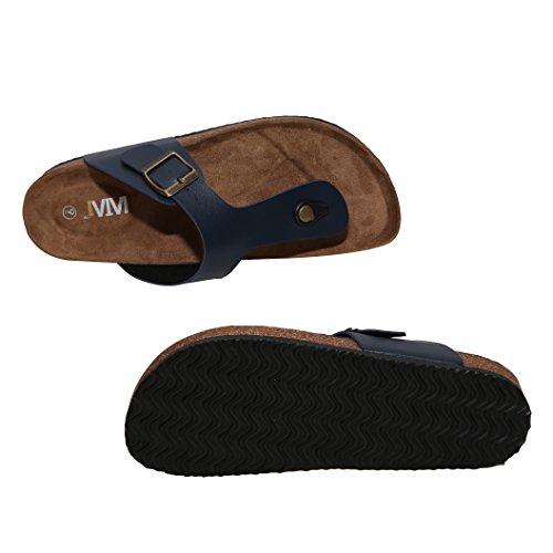 Wtw Mens Gizeh Thong Voetbed Flat-flip-flops Kurk Sandalen Marine Blauw