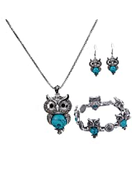 YAZILIND Ethnic Silver Plated Vintage Turquoise Blue Owl Pendant Necklace Drop Earrings Bracelet for Women Jewelry Sets