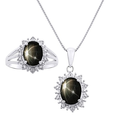 Diamond & Black Star Sapphire Matching Pendant Necklace and Ring Set In Sterling Silver .925 - Both Ring & Necklace - Princess Diana Inspired Halo Designer Style ()
