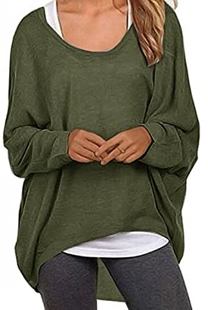 UGET Women's Sweater Casual Oversized Baggy Off-Shoulder Shirts Batwing Sleeve Pullover Shirts Tops Asia S Army Green