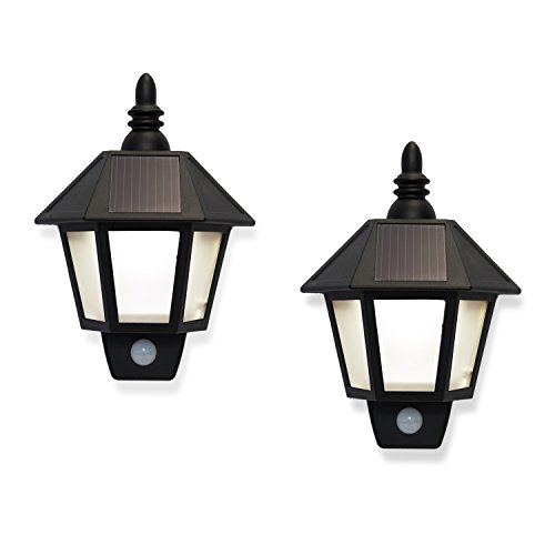 LampLust Solar Outdoor Fence Lights - LED Security Wall Lights with Motion Sensor, Black Exterior, Waterproof, Dawn to Dusk, Set of 2
