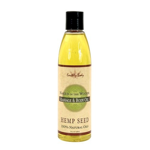 Earthly Body Massage Oil 8-Ounce, Naked In The (Hemp Wood)