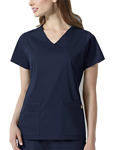 - WonderWink Next Charlotte V-Neck Women's Scrub Top, Navy, Medium