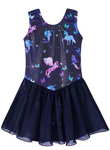 Toddler girls 3t 4t gymnastics camisole leotards ballet dance dress tutu skirts dancewear cute unicorn Unicorn gymnastic skirt(Baby Girls/Toddler Girls/Big Girls) (Fancy, 110(3-4 years old))