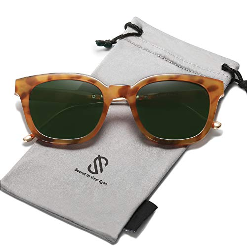SOJOS Classic Square Polarized Sunglasses Unisex UV400 Mirrored Glasses SJ2050 with Amber Frame/G15 Polarized Lens (Mirrored Sunnies)
